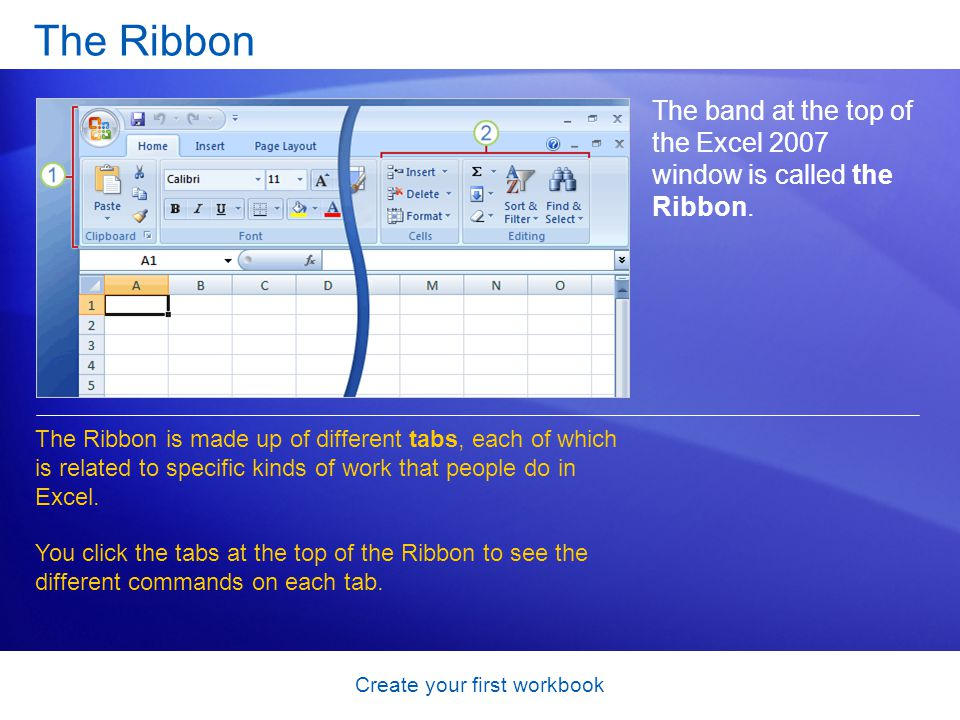 Create your first workbook The Ribbon The band at the top of the Excel 2007 window is called the Ribbon. The Ribbon is made up of different tabs, each