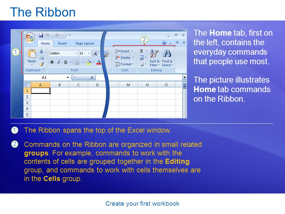 Create your first workbook Workbooks and worksheets When you start Excel, you open a file that's called a workbook.