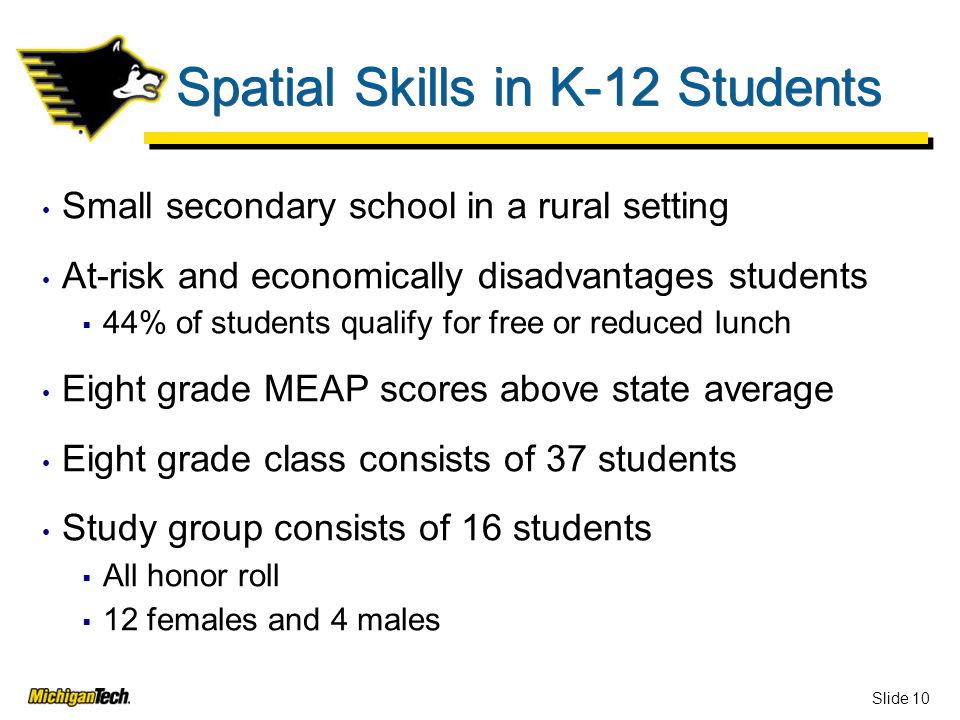 Slide 10 Spatial Skills in K-12 Students Small secondary school in a rural setting At-risk and economically disadvantages students  44% of students qualify for free or reduced lunch Eight grade MEAP scores above state average Eight grade class consists of 37 students Study group consists of 16 students  All honor roll  12 females and 4 males