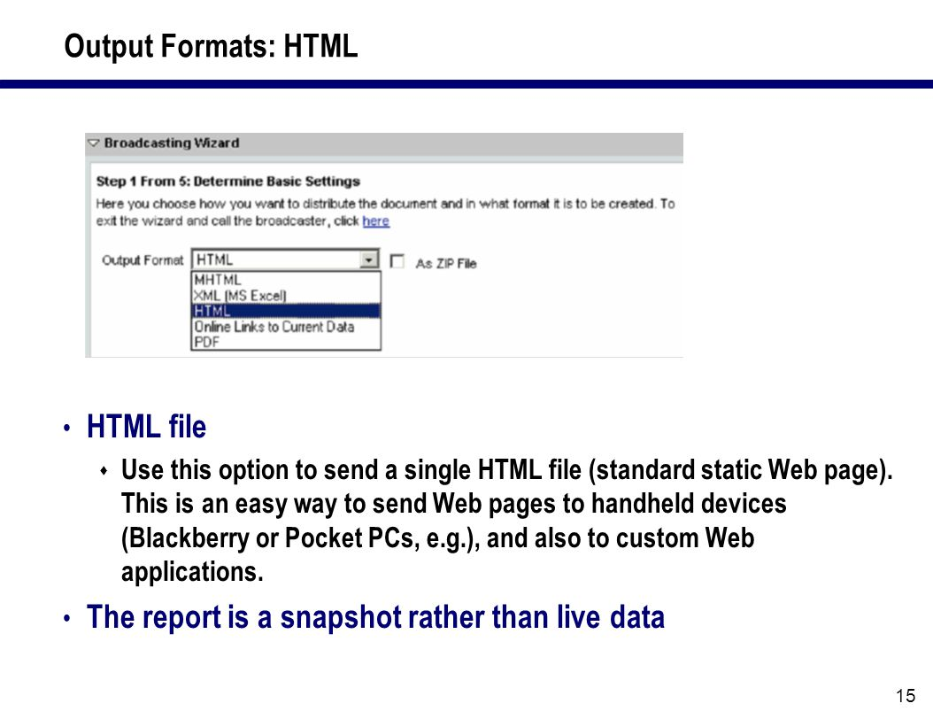 15 Output Formats: HTML HTML file  Use this option to send a single HTML file (standard static Web page).