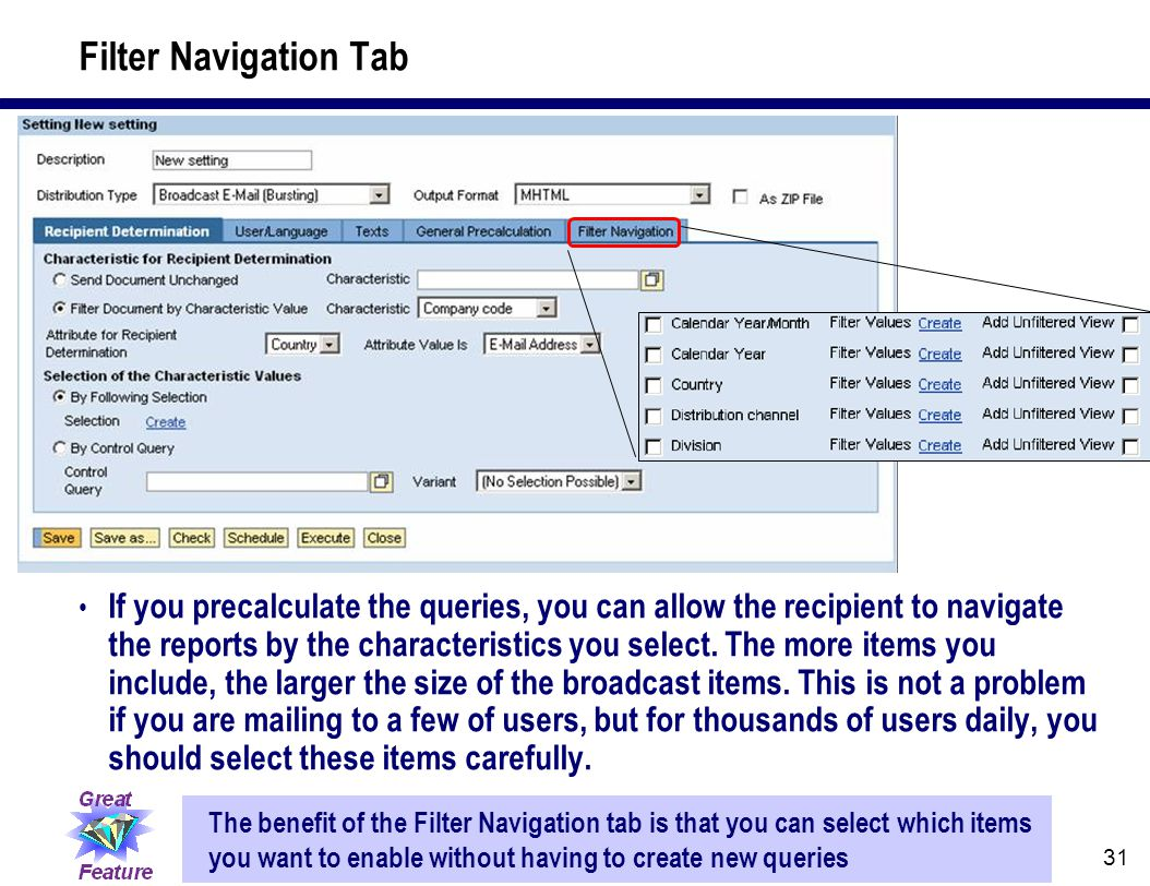 31 Filter Navigation Tab If you precalculate the queries, you can allow the recipient to navigate the reports by the characteristics you select. The m