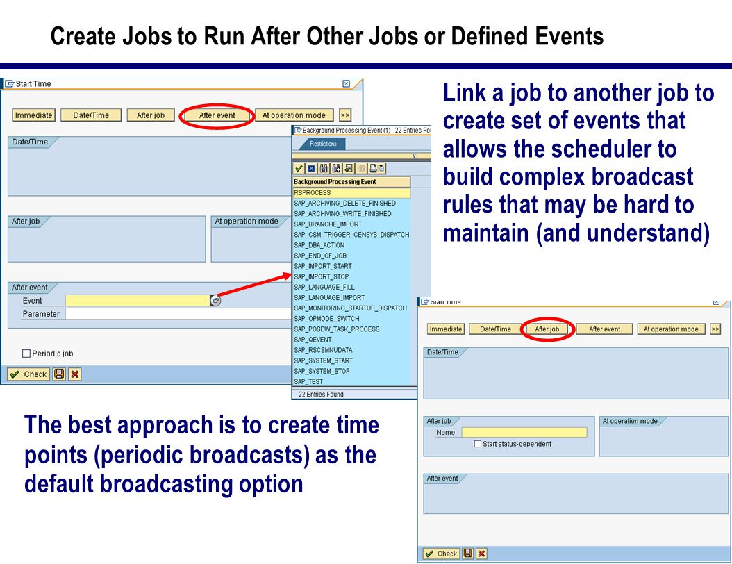 42 Create Jobs to Run After Other Jobs or Defined Events The best approach is to create time points (periodic broadcasts) as the default broadcasting