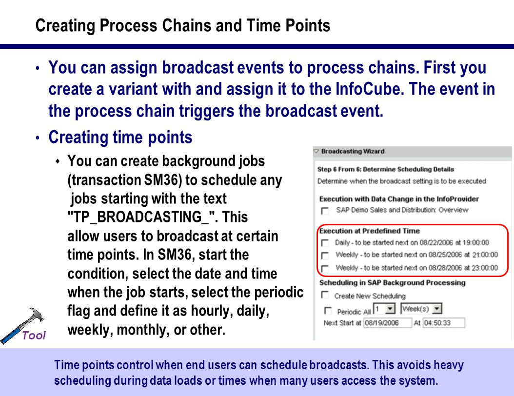 43 Creating Process Chains and Time Points You can assign broadcast events to process chains.