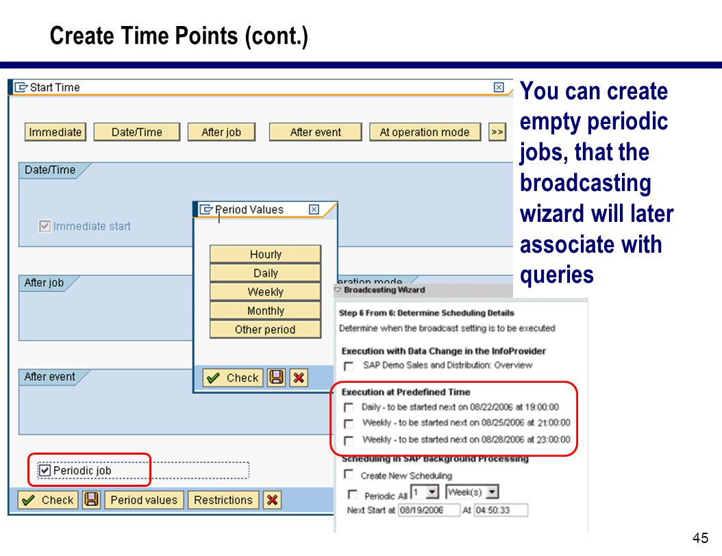 45 Create Time Points (cont.) You can create empty periodic jobs, that the broadcasting wizard will later associate with queries