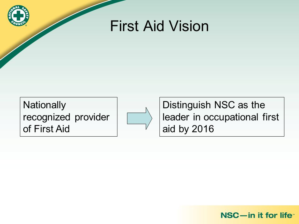 Nationally recognized provider of First Aid Distinguish NSC as the leader in occupational first aid by 2016 First Aid Vision