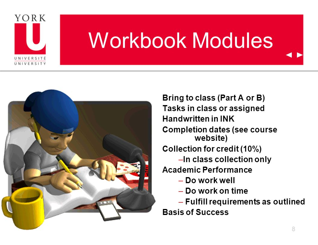 8 Workbook Modules Bring to class (Part A or B) Tasks in class or assigned Handwritten in INK Completion dates (see course website) Collection for credit (10%) –In class collection only Academic Performance – Do work well – Do work on time – Fulfill requirements as outlined Basis of Success