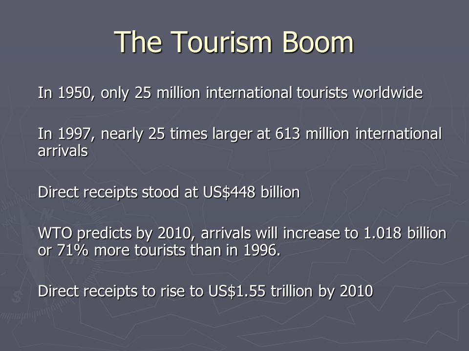 The Tourism Boom In 1950, only 25 million international tourists worldwide In 1997, nearly 25 times larger at 613 million international arrivals Direct receipts stood at US$448 billion WTO predicts by 2010, arrivals will increase to 1.018 billion or 71% more tourists than in 1996.