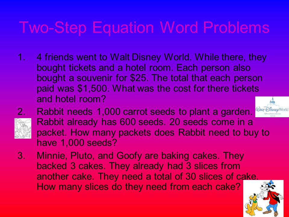 Two-Step Equation Word Problems 1.4 friends went to Walt Disney World.