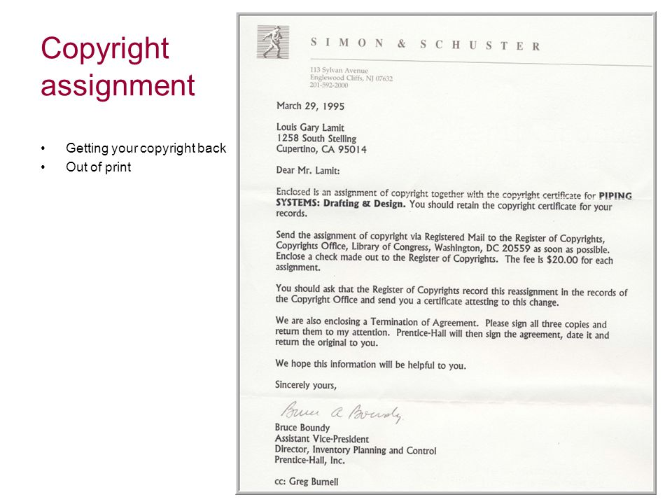 Copyright assignment Getting your copyright back Out of print