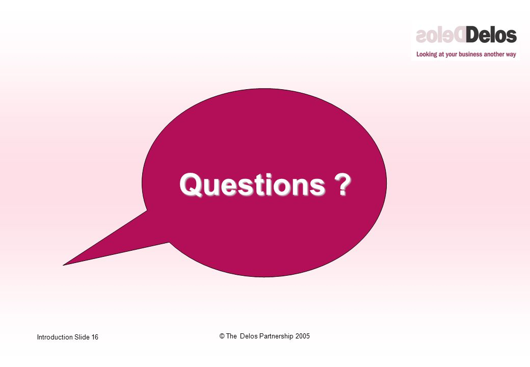 Introduction Slide 16 © The Delos Partnership 2005  Questions ?
