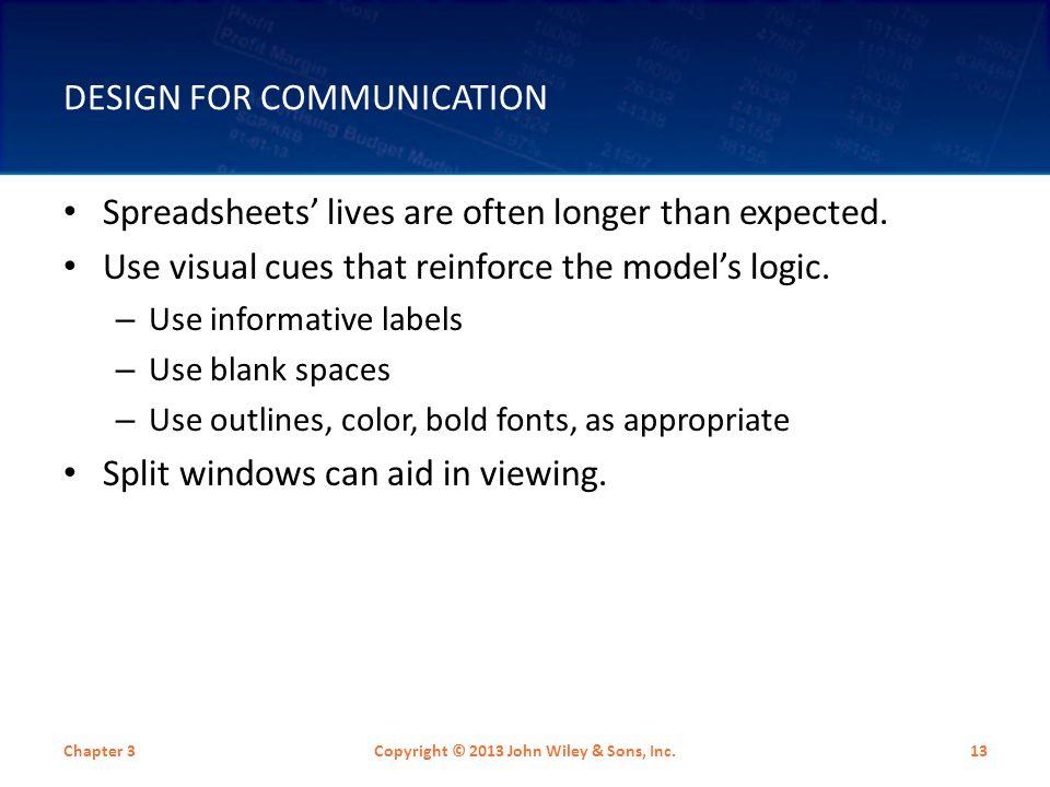 DESIGN FOR COMMUNICATION Spreadsheets' lives are often longer than expected.
