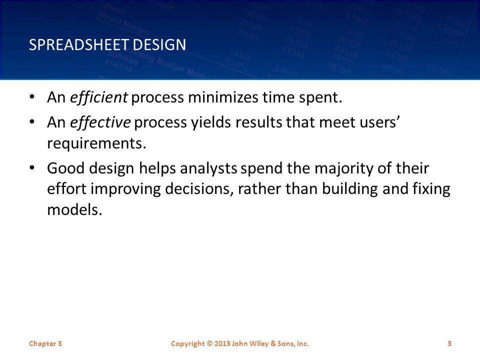 SPREADSHEET DESIGN An efficient process minimizes time spent.