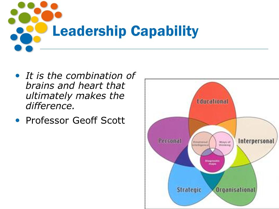 Leadership Capability It is the combination of brains and heart that ultimately makes the difference. Professor Geoff Scott