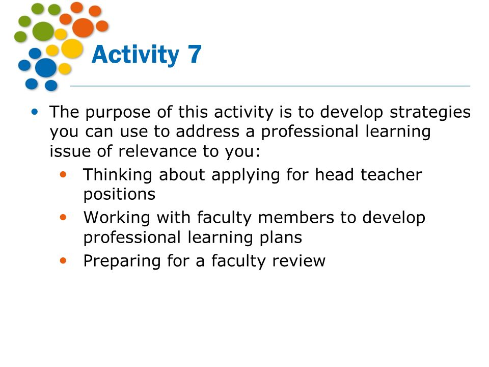 Activity 7 The purpose of this activity is to develop strategies you can use to address a professional learning issue of relevance to you: Thinking ab