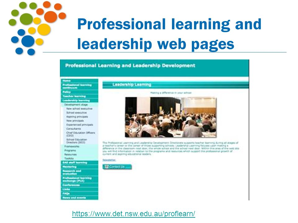 Professional learning and leadership web pages https://www.det.nsw.edu.au/proflearn/