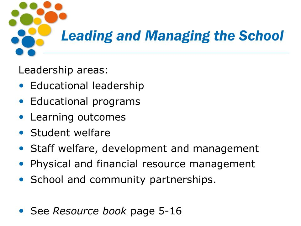 Leading and Managing the School Leadership areas: Educational leadership Educational programs Learning outcomes Student welfare Staff welfare, develop