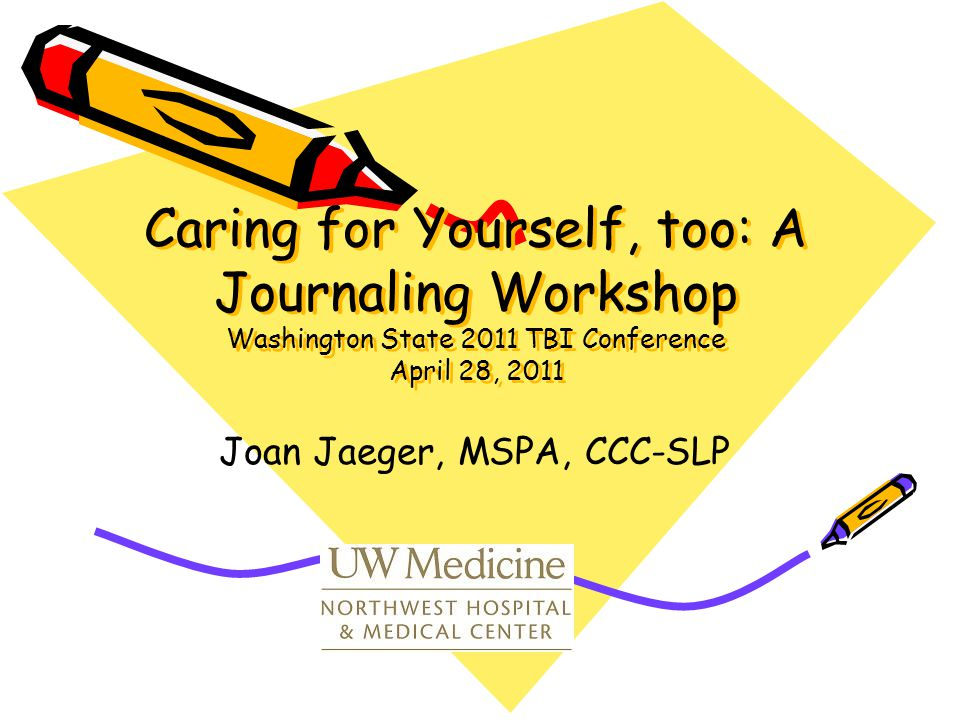 Caring for Yourself, too: A Journaling Workshop Washington State 2011 TBI Conference April 28, 2011 Caring for Yourself, too: A Journaling Workshop Washington State 2011 TBI Conference April 28, 2011 Joan Jaeger, MSPA, CCC-SLP