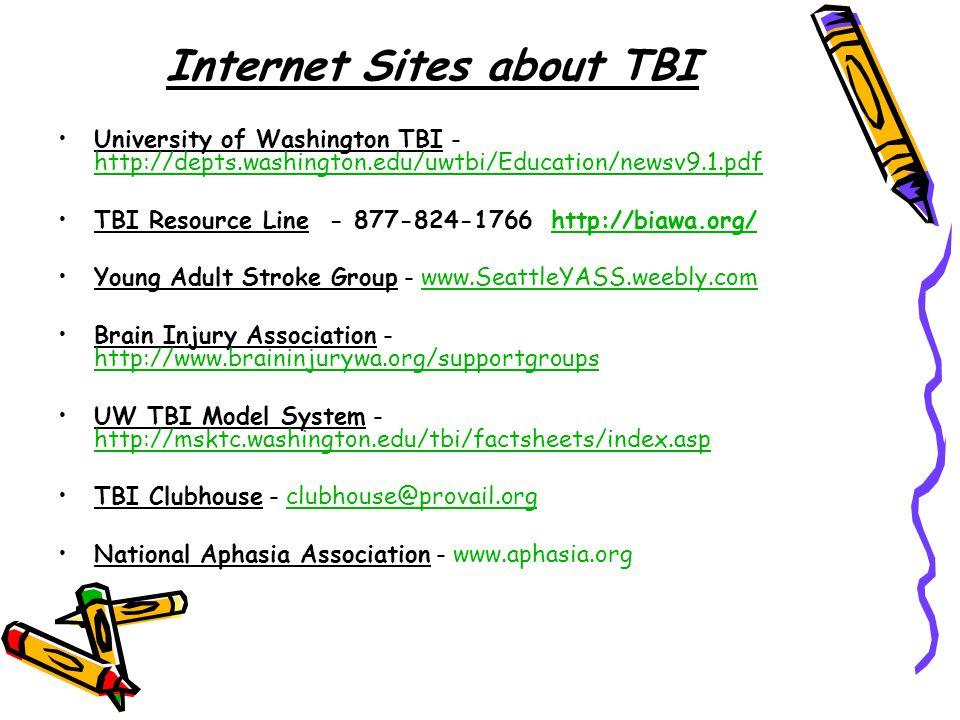 Internet Sites about TBI University of Washington TBI - http://depts.washington.edu/uwtbi/Education/newsv9.1.pdf http://depts.washington.edu/uwtbi/Education/newsv9.1.pdf TBI Resource Line - 877-824-1766 http://biawa.org/http://biawa.org/ Young Adult Stroke Group - www.SeattleYASS.weebly.comwww.SeattleYASS.weebly.com Brain Injury Association - http://www.braininjurywa.org/supportgroups http://www.braininjurywa.org/supportgroups UW TBI Model System - http://msktc.washington.edu/tbi/factsheets/index.asp http://msktc.washington.edu/tbi/factsheets/index.asp TBI Clubhouse - clubhouse@provail.orgclubhouse@provail.org National Aphasia Association - www.aphasia.org