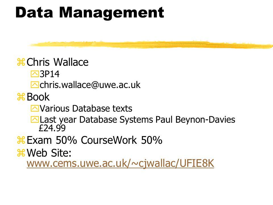 Data Management zChris Wallace y3P14 ychris.wallace@uwe.ac.uk zBook yVarious Database texts yLast year Database Systems Paul Beynon-Davies £24.99 zExam 50% CourseWork 50% zWeb Site: www.cems.uwe.ac.uk/~cjwallac/UFIE8K www.cems.uwe.ac.uk/~cjwallac/UFIE8K