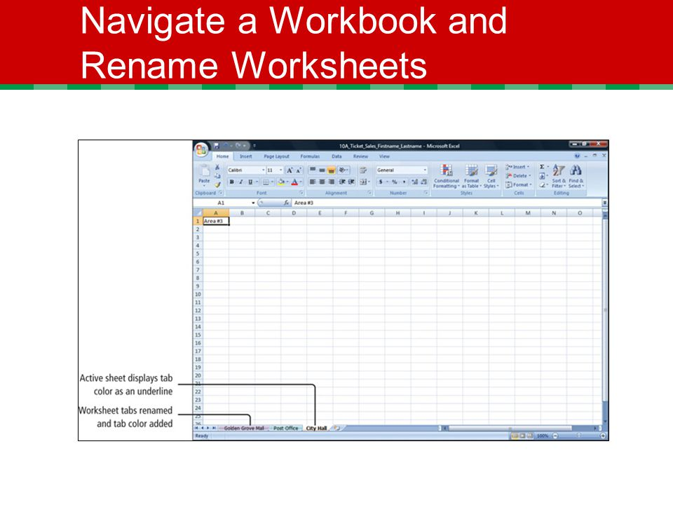Navigate a Workbook and Rename Worksheets