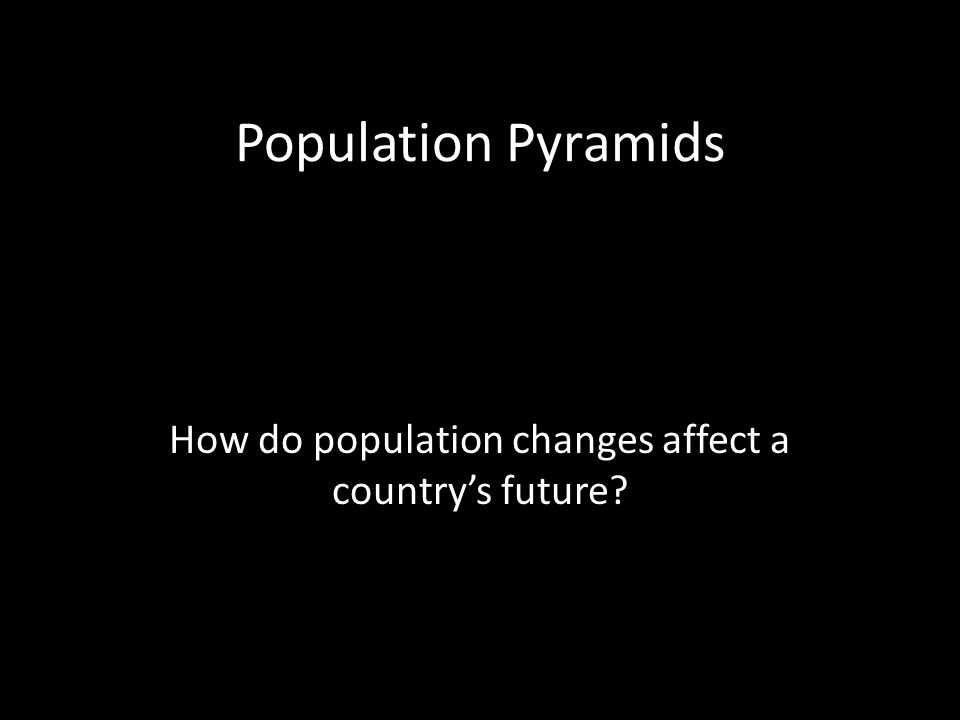 Population Pyramids How do population changes affect a country's future?
