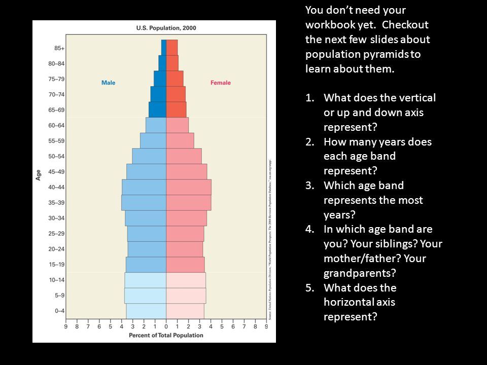 You don't need your workbook yet. Checkout the next few slides about population pyramids to learn about them. 1.What does the vertical or up and down