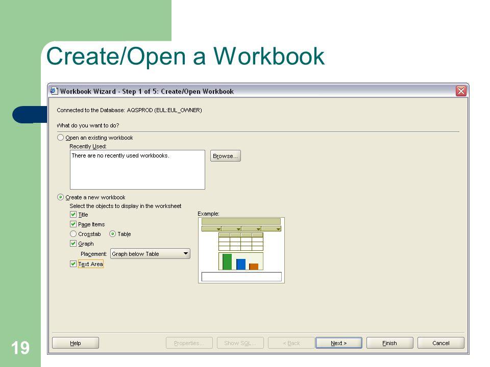 19 Create/Open a Workbook