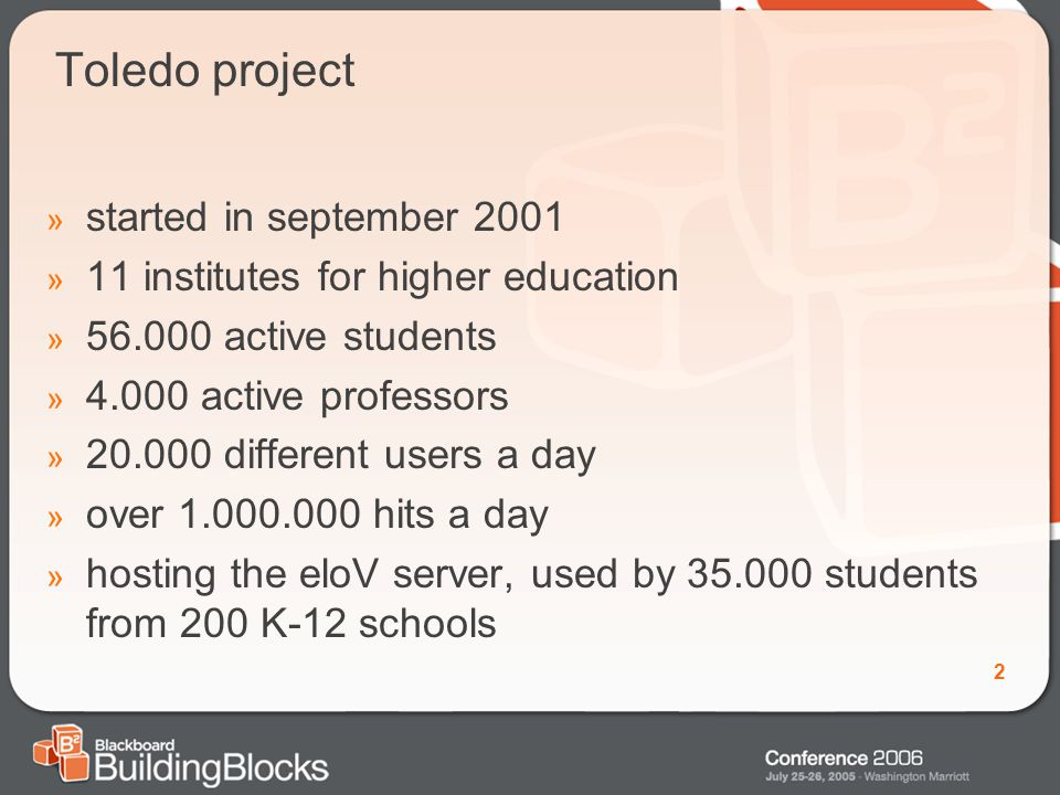2 Toledo project » started in september 2001 » 11 institutes for higher education » 56.000 active students » 4.000 active professors » 20.000 different users a day » over 1.000.000 hits a day » hosting the eloV server, used by 35.000 students from 200 K-12 schools