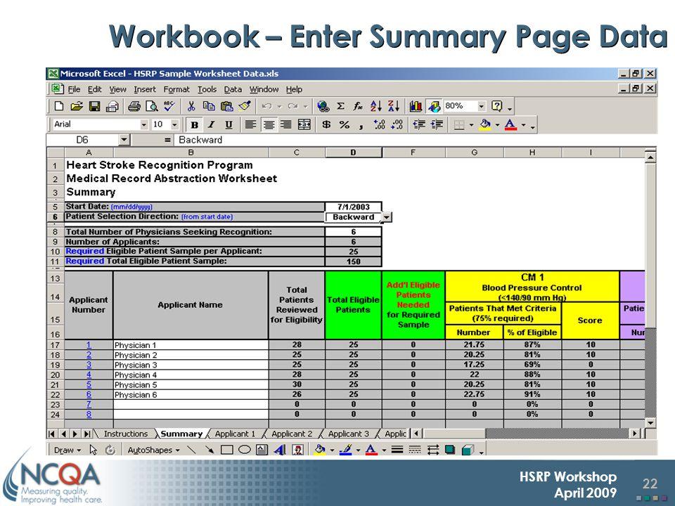 22 HSRP Workshop April 2009 Workbook – Enter Summary Page Data