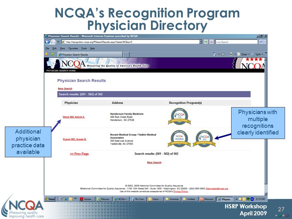 27 HSRP Workshop April 2009 Physicians with multiple recognitions clearly identified Additional physician practice data available NCQA's Recognition Program Physician Directory