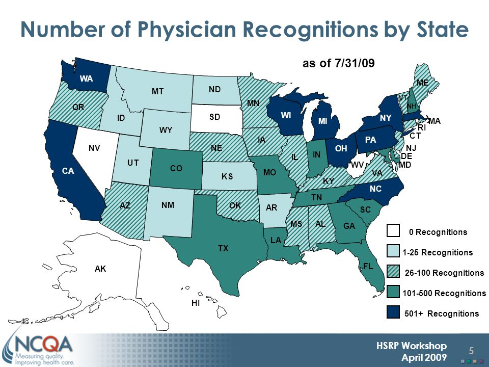 5 HSRP Workshop April 2009 Number of Physician Recognitions by State ME VT RI NJ MD MA DE NY WA OR AZ NV WI NM NE MN KS FL CO IA NC MI PA OH VA MO HI OK GA SC TN MT KY WV AR LA AL IN IL SD ND TX ID WY UT AK CA CT NH 101-500 Recognitions as of 7/31/09 MS 26-100 Recognitions 0 Recognitions 1-25 Recognitions 501+ Recognitions