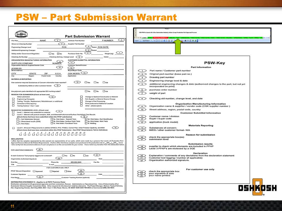 11 PSW – Part Submission Warrant