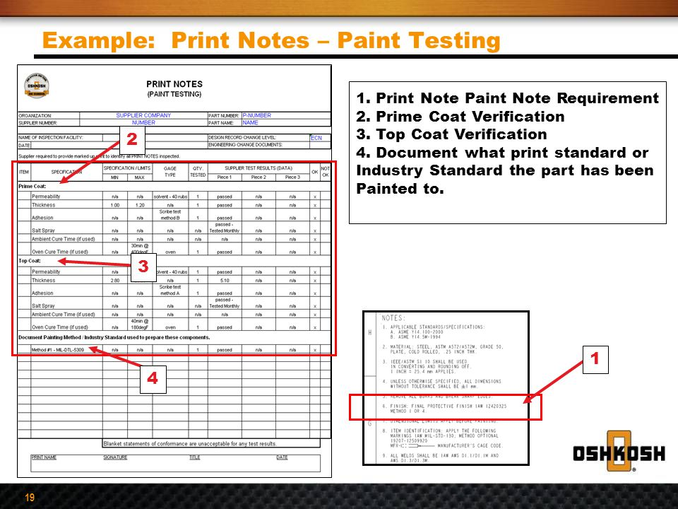 19 1. Print Note Paint Note Requirement 2. Prime Coat Verification 3. Top Coat Verification 4. Document what print standard or Industry Standard the p