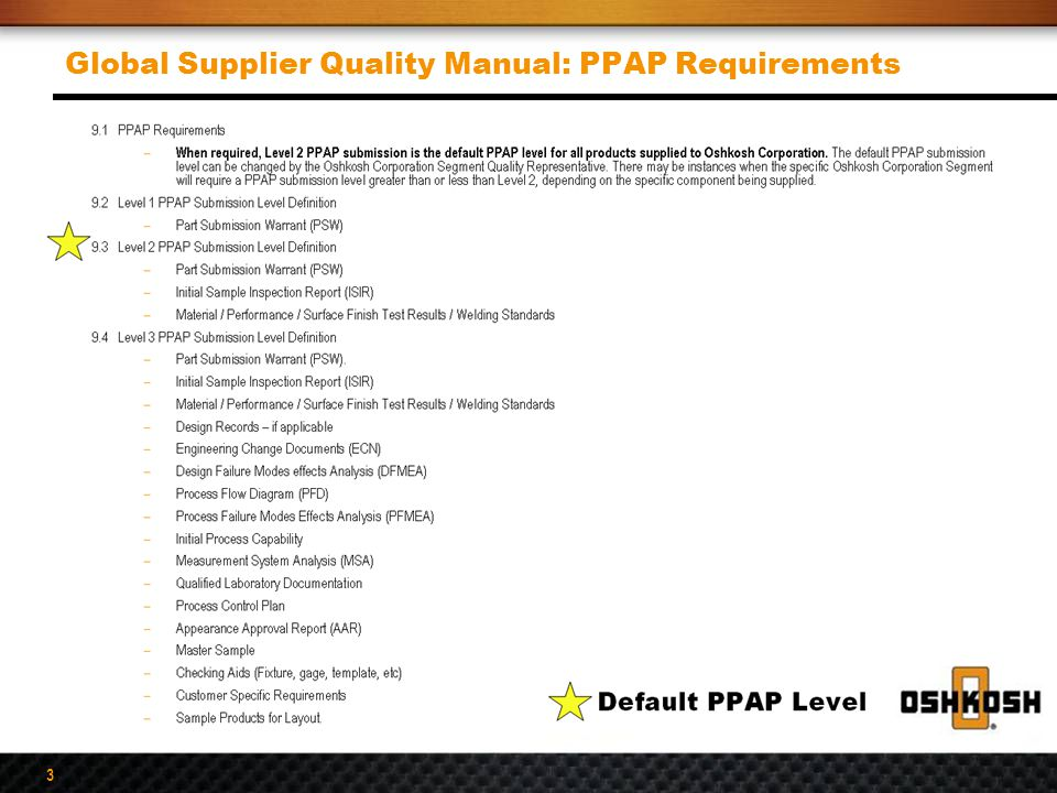 3 Global Supplier Quality Manual: PPAP Requirements