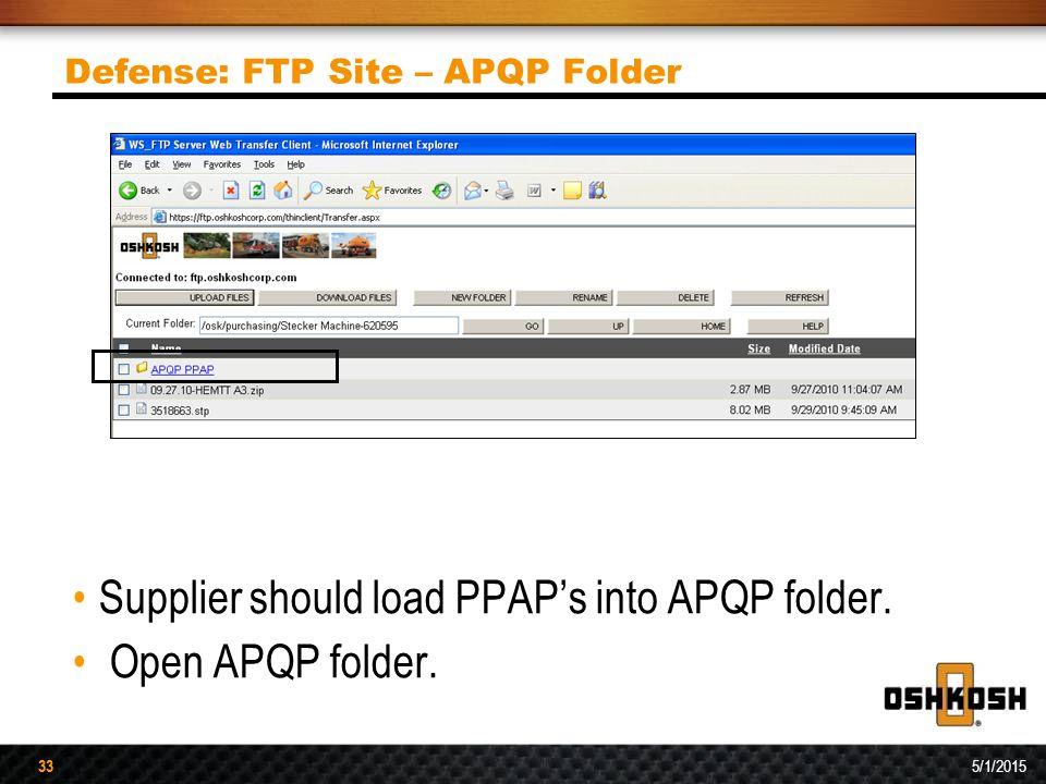 33 5/1/2015 33 Defense: FTP Site – APQP Folder Supplier should load PPAP's into APQP folder. Open APQP folder.