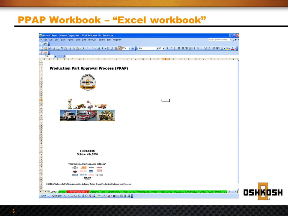 """6 PPAP Workbook – """"Excel workbook"""""""