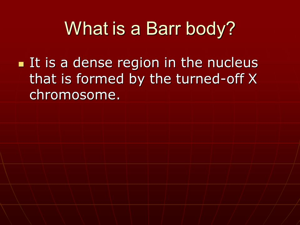 What is a Barr body? It is a dense region in the nucleus that is formed by the turned-off X chromosome. It is a dense region in the nucleus that is fo