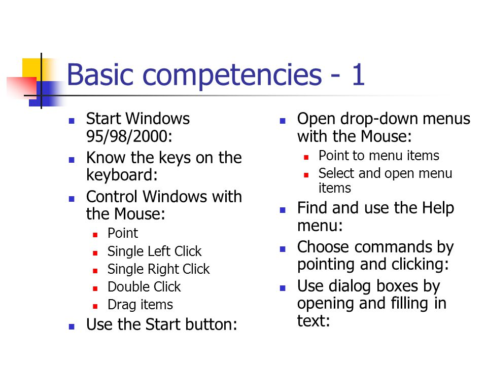 Basic Computer Competencies Intermediate Competencies Word Processing Information Retrieval Internet & Databases