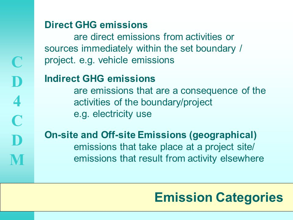 CD4CDMCD4CDM Emission Categories Direct GHG emissions are direct emissions from activities or sources immediately within the set boundary / project.