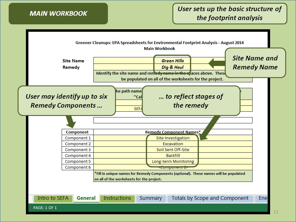 13 User may identify up to six Remedy Components … … to reflect stages of the remedy Site Name and Remedy Name MAIN WORKBOOK User sets up the basic structure of the footprint analysis