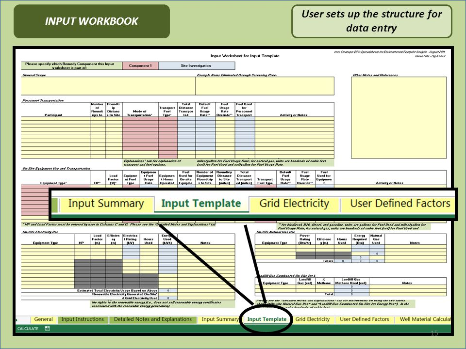 15 User sets up the structure for data entry INPUT WORKBOOK