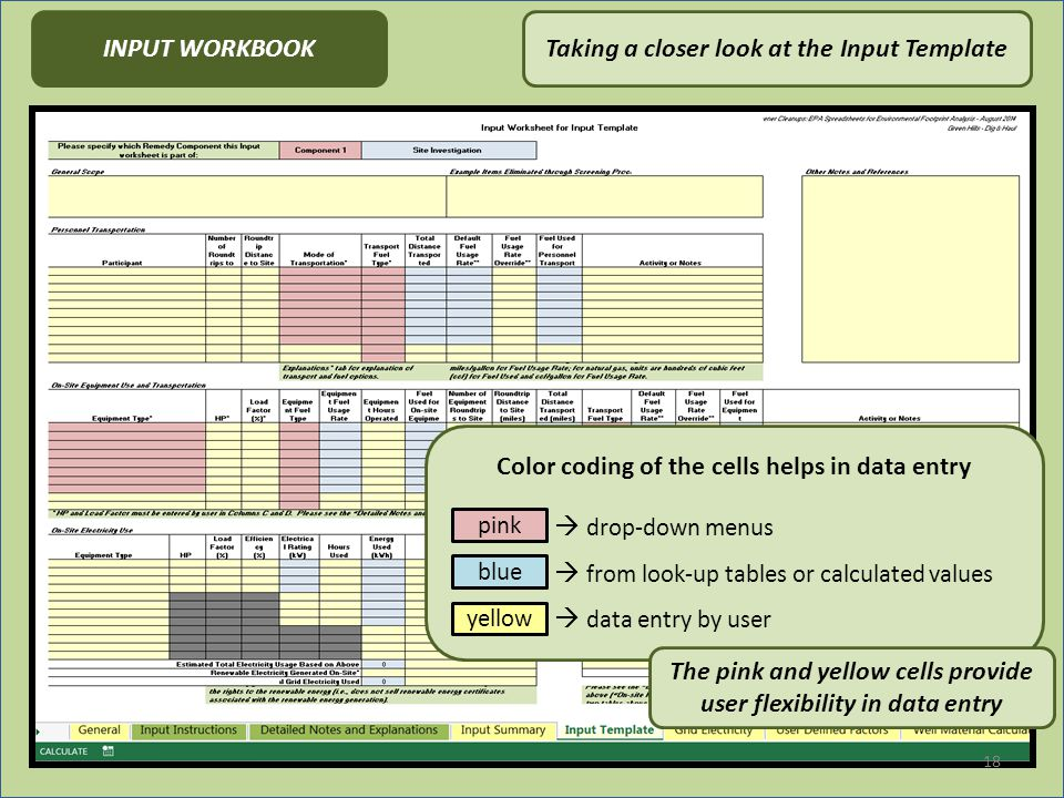 18 Taking a closer look at the Input TemplateINPUT WORKBOOK Color coding of the cells helps in data entry  drop-down menus  from look-up tables or calculated values  data entry by user pink blue yellow The pink and yellow cells provide user flexibility in data entry