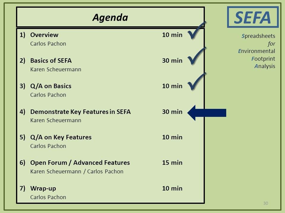 30 Agenda SEFA Spreadsheets for Environmental Footprint Analysis 1)Overview10 min Carlos Pachon 2)Basics of SEFA30 min Karen Scheuermann 3) Q/A on Bas