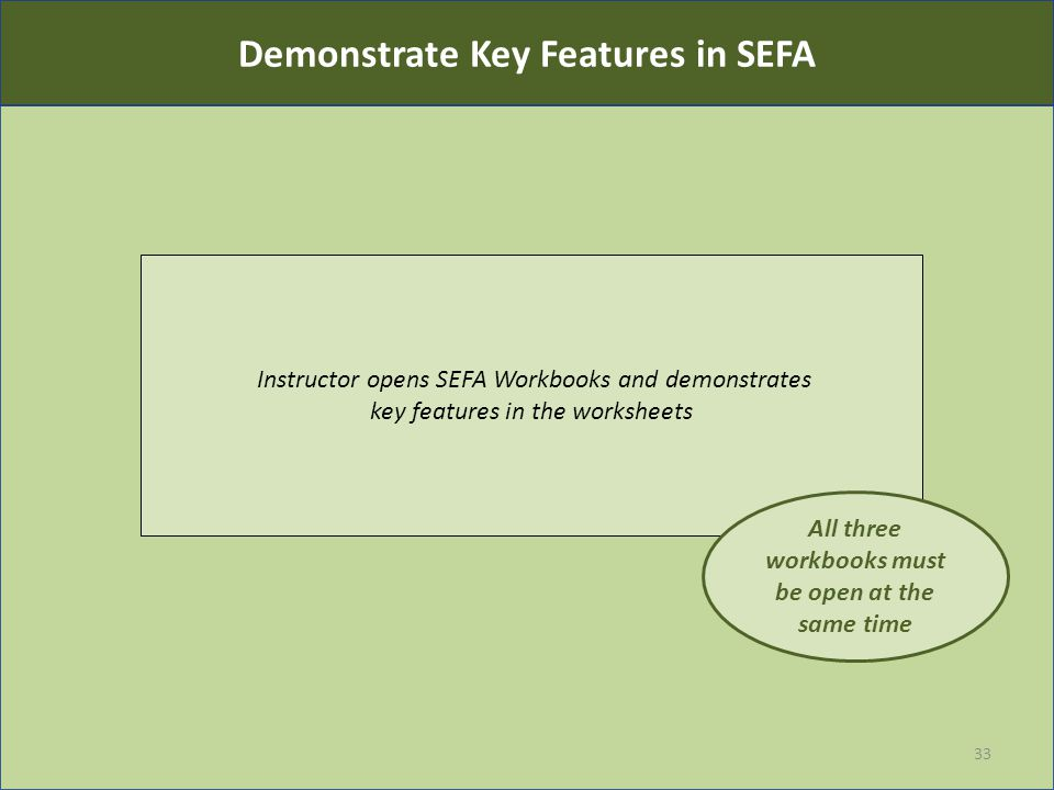 Instructor opens SEFA Workbooks and demonstrates key features in the worksheets 33 All three workbooks must be open at the same time Demonstrate Key F