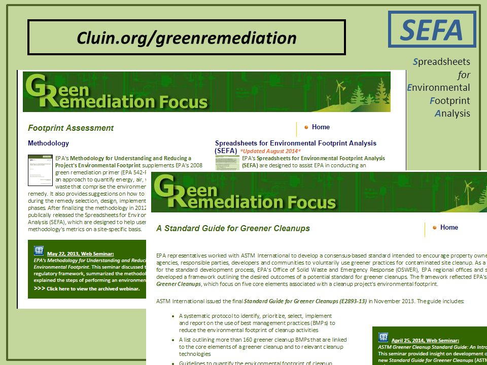 SEFA 6 Spreadsheets for Environmental Footprint Analysis Cluin.org/greenremediation