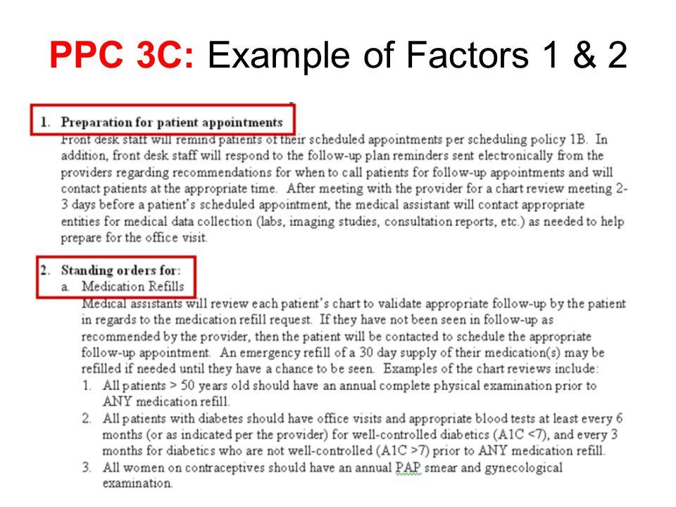 PPC 3C: Example of Factors 1 & 2