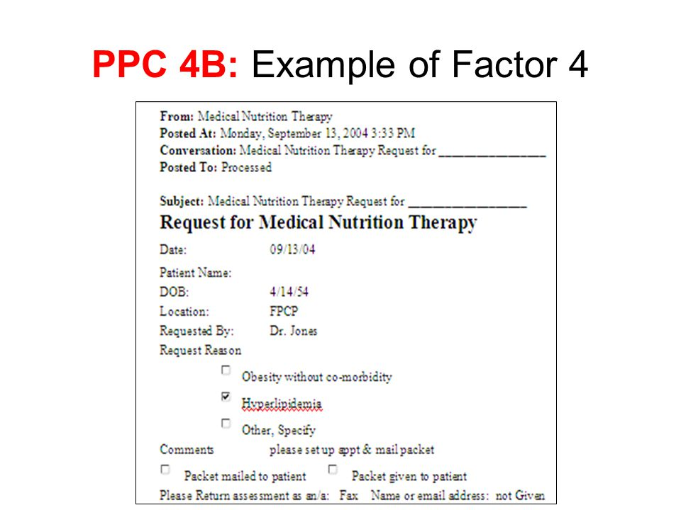 PPC 4B: Example of Factor 4