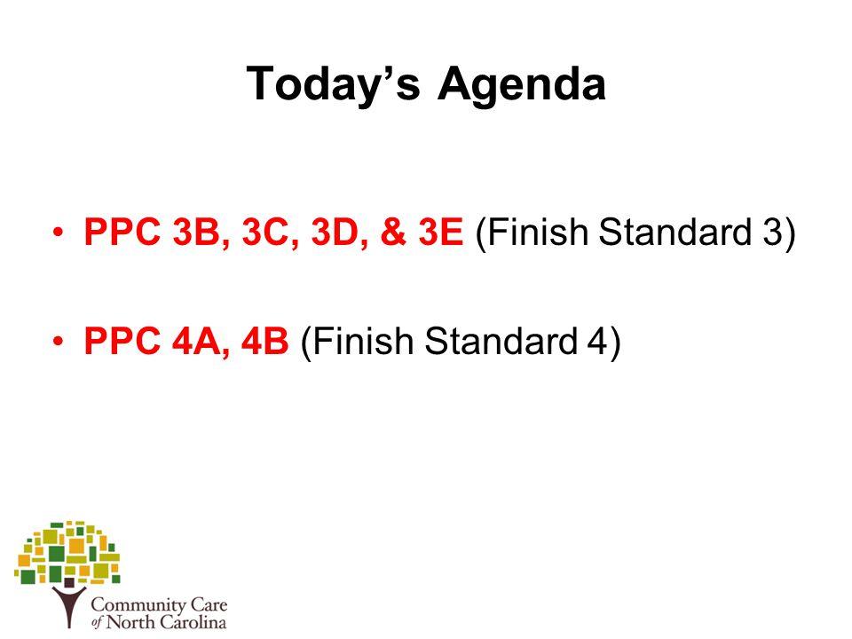 Today's Agenda PPC 3B, 3C, 3D, & 3E (Finish Standard 3) PPC 4A, 4B (Finish Standard 4)