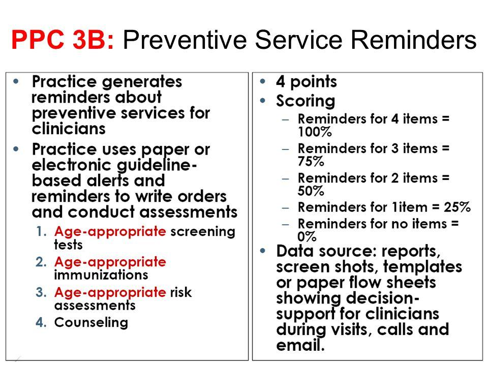 PPC 3B: Preventive Service Reminders