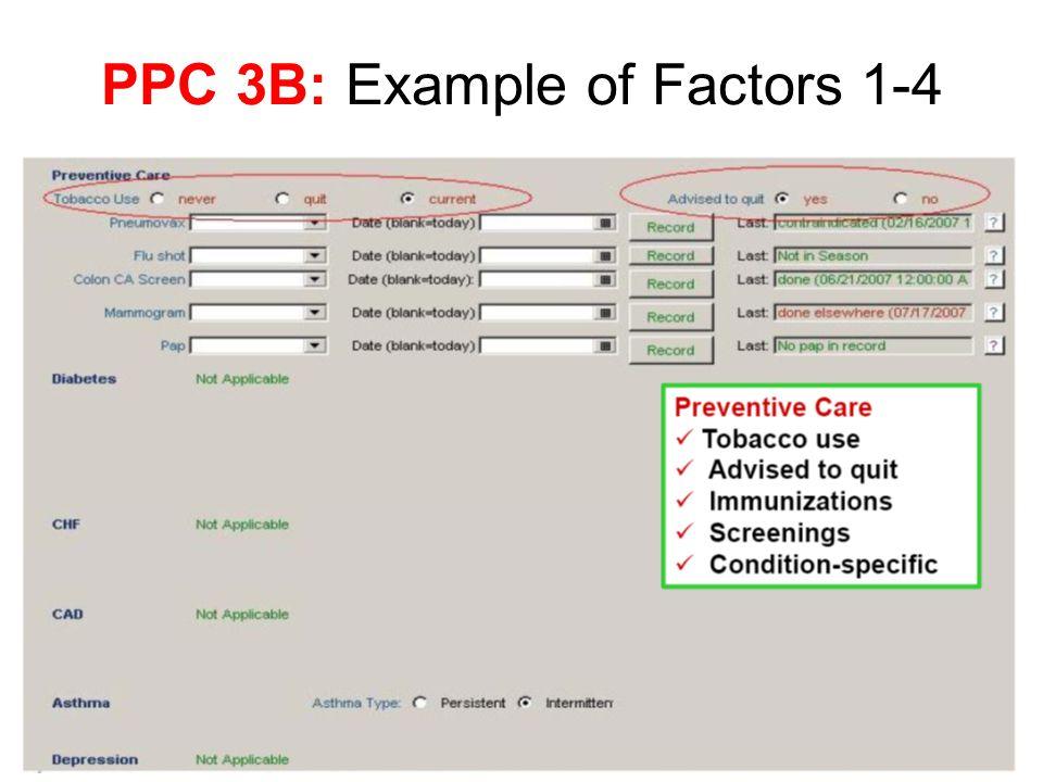 PPC 3B: Example of Factors 1-4